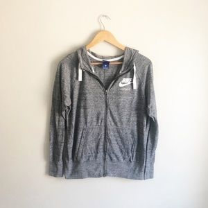 Nike Hoodie Lightweight Gray Drawstring Zip up Med